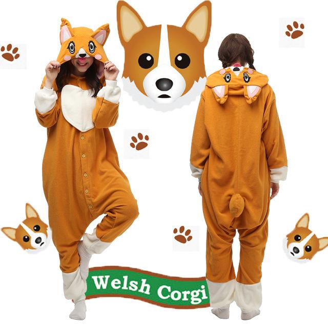 Christmas Halloween Birthday Gift Corgi Dog Homewear Hoodie Pajamas Onesies Sleepwear Robe for Adults