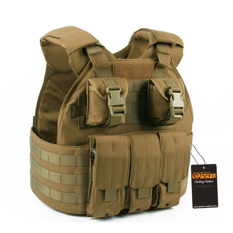 Airsoft Military Molle Combat Assault Plate Carrier Vest Tactical SPC Vest Hunting Combat CS Vest with Magazine Pouch military usmc backpack hunting rifle molle bag assault molle bug out rucksack hunting army combat travel bag