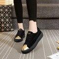 Новая коллекция весна Лето Сплошной Цвет туфли на платформе натуральная кожа Белый Случайные Бренд женской Обуви