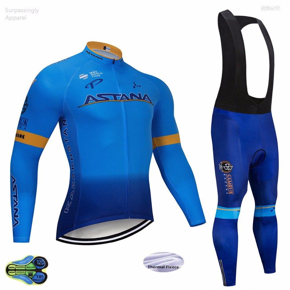 2018 bleu Astana à manches longues cyclisme équipe Jersey Gel Pad vélo pantalon costume vtt Ropa Ciclismo Pro vélo Maillot Culotte porter
