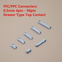 цены 10Pcs FPC Connector socket FFC 0.5MM Drawer type Top Contact 4P 6P 8P 10P 12P 14P 16P 18P 20P 22P 24P 30P 32P 34P 40P 50P 60P