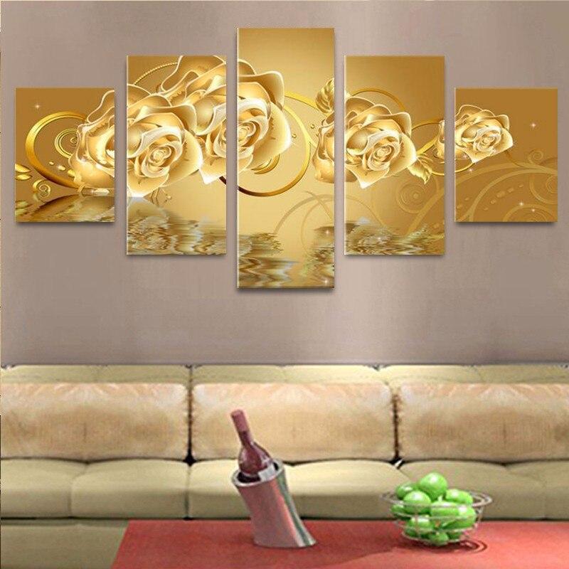 Unframed 5 Panels Golden Rose Flower Painting Modern Home Wall Decor ...