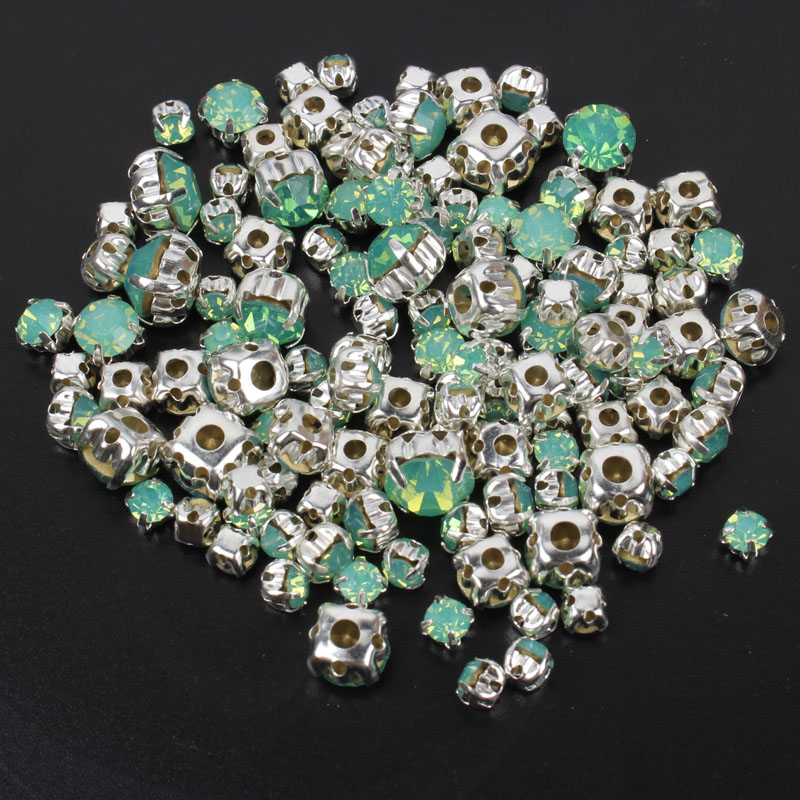Mix Size 4mm-8mm 120pcs Green Opal Sew on Rhinestones Silver Base Rhinestone For Clothing sewing accessories free shipping