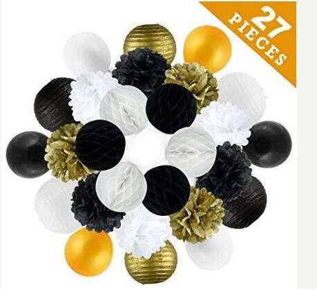 27 Pcs Birthday Party Decoration Anniversary Engagement Wedding Celebration And Bridal Shower Gold Black White In DIY Decorations From Home Garden