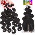 Queenking hair onda do corpo brasileiro com o fechamento não transformados 4 feixes de cabelo brasileiro virgem tecer cabelo humano com lace closure