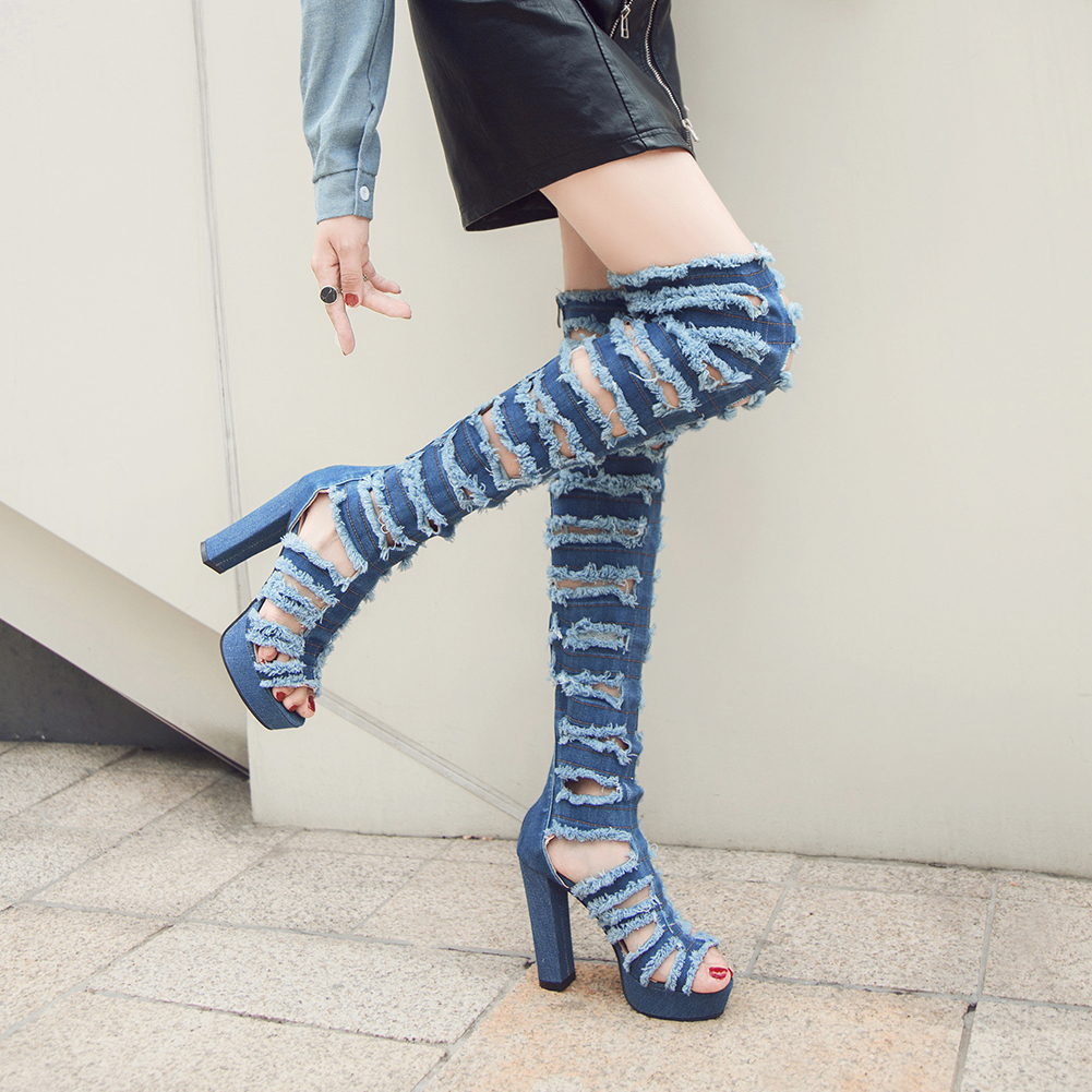 ALLENLYNN New Sexy Over The Knee Thigh High Summer Boots Women 2019 Fashion Platform Denim Shoes Women High Heels Shoes Woman in Over the Knee Boots from Shoes