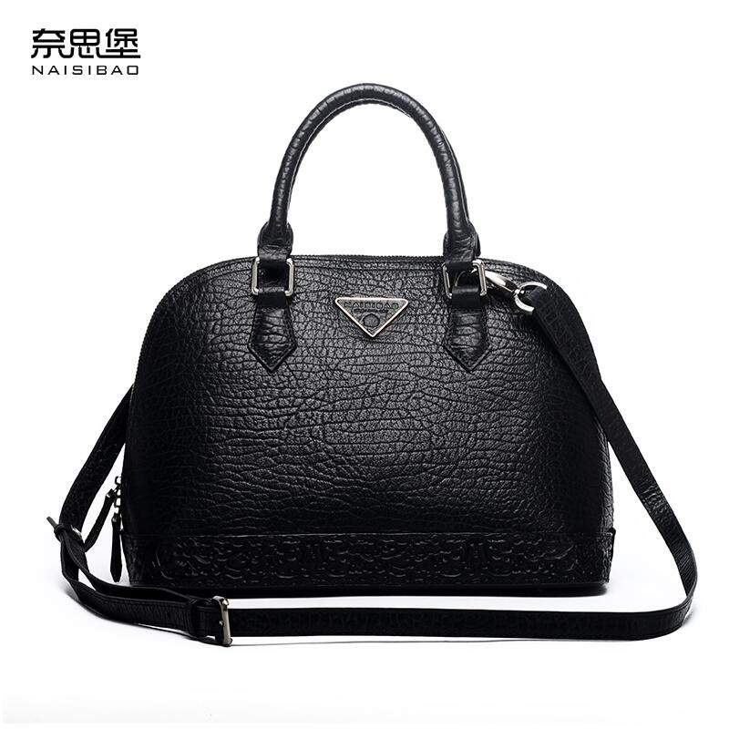 NAISIBAO2018 new luxury fashion 100% high quality leather handbag shell bag Messenger bag leather embossed wind coat naisibao2018 new luxury fashion 100% high quality leather handbag shell bag messenger bag leather embossed wind coat