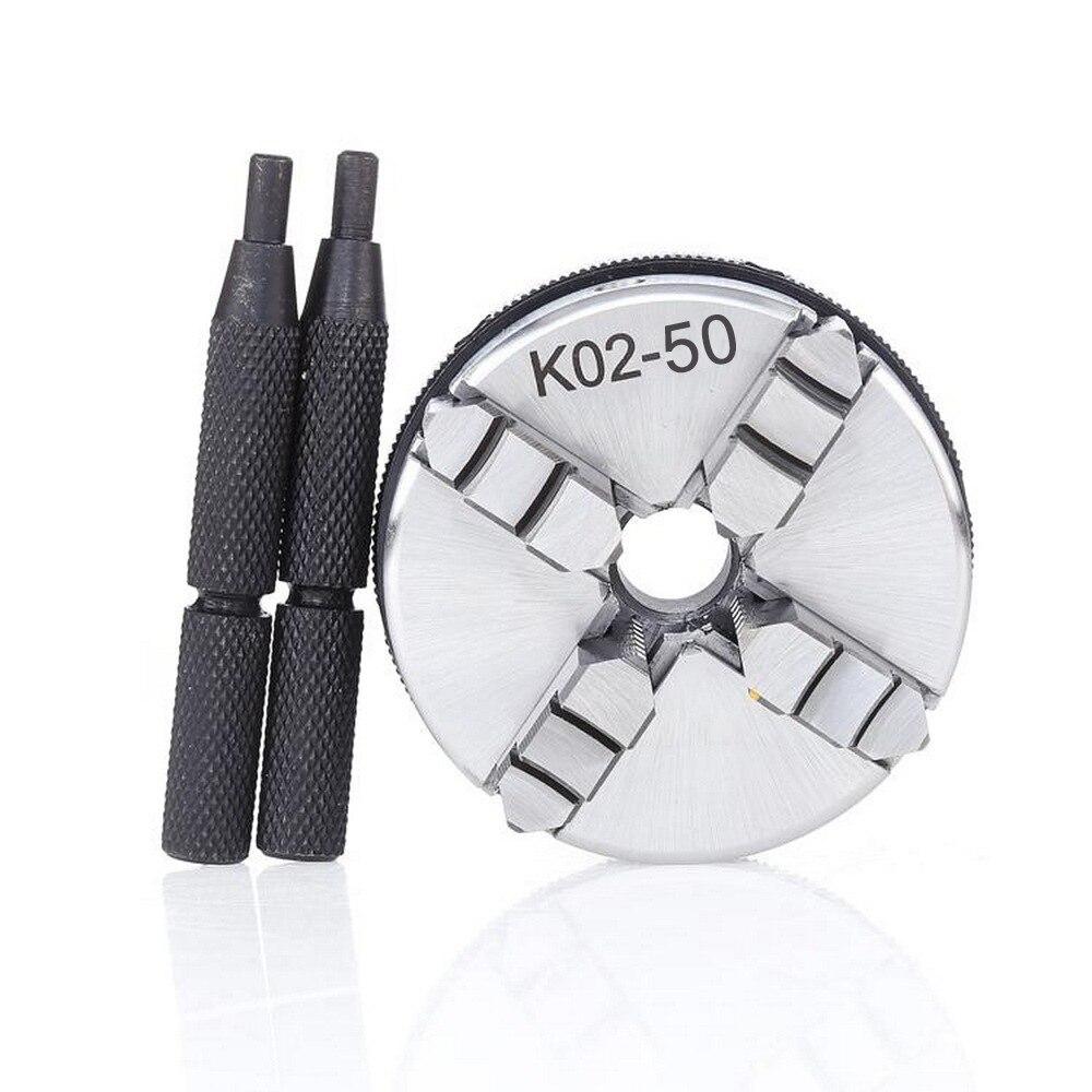 Mini 4 mâchoires réversible auto-centrage M14 filetage montage tour mandrin tige de verrouillage K02-50 2x tige de verrouillage CNC perceuse fraiseuse 50mm