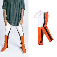 High Street Mans Side Zipper Spell Color Hip Hop Sweatpants Europe the United States Steetwear Youth Elastic Waist Joggers Pants
