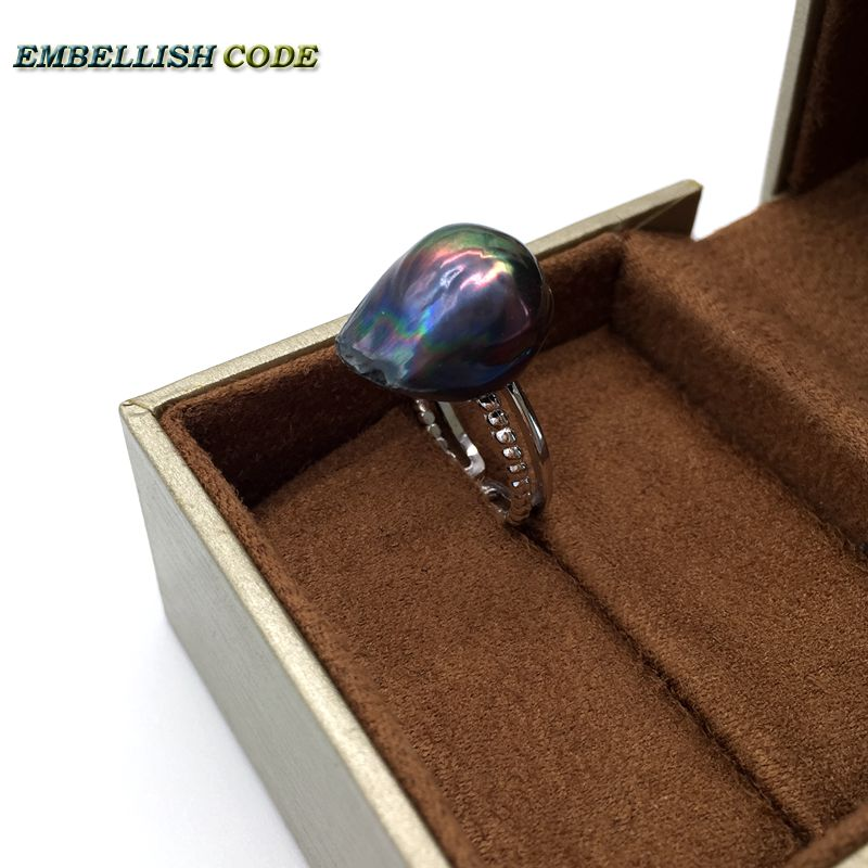 Resize baroque pearls 925 silver Ring black blue colourful Lustrous tissue nucleated flameball for women cultured pearl rings