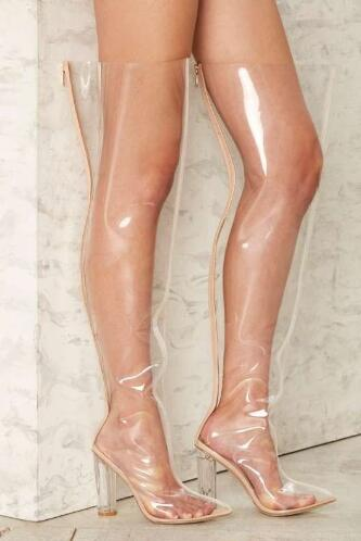 Newest Clear PVC Women Over The Knee Boots Sexy Pointy Toe Transparent Chunky Heel Ladies Boots Gladiator Thigh High BootsNewest Clear PVC Women Over The Knee Boots Sexy Pointy Toe Transparent Chunky Heel Ladies Boots Gladiator Thigh High Boots