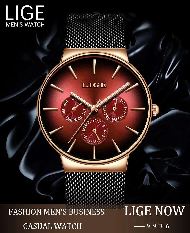 HTB14LUWS9zqK1RjSZFHq6z3CpXap 2019 LIGE Casual Thin Mesh Belt Fashion Quartz Gold Watch Mens Watches Top Brand Luxury Sport Waterproof Clock Relogio Masculino