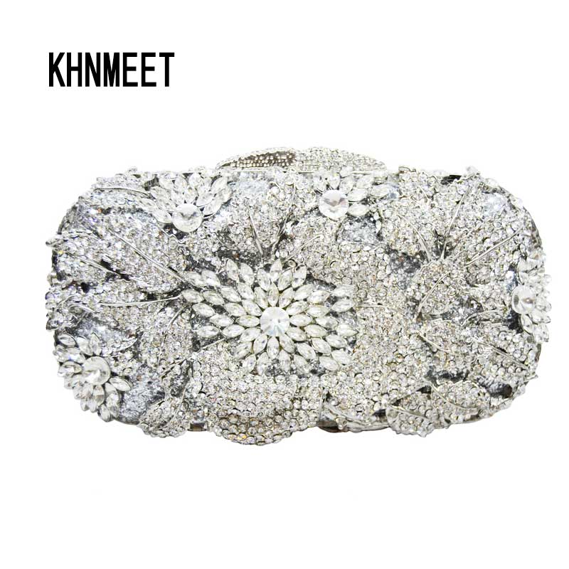 LaiSC diamond crystal clutch evening bags women party bag Silver luxury Clutch bags wedding evening pochette manufacturers SC053