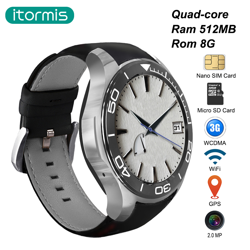 Galleria fotografica itormis Bluetooth Android Smart Watch <font><b>Smartwatch</b></font> SIM Card Phone Watch Quad core MTK6580 ROM8GB+RAM512MB S1 plus WiFi GPS Camera