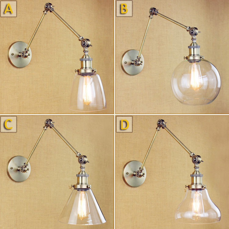 Glass Ball Loft Industrial Wall Lamp Vintage Adjustable Swing Long Arm Wall Light Fixtures Retro Sconce Appliques Pared LED glass wooden arm retro vintage wall lamp led edison style loft industrial wall light sconce home lighting appliques pared
