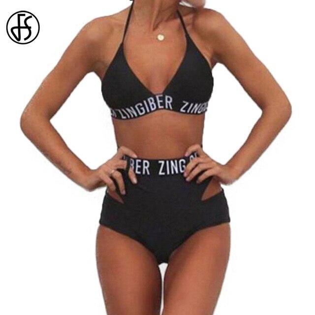 204017cfbf FS High Cut Bikinis Set Black Letter Zingiber Halter Top Bandage High Waist  Bathing Suit Swimsuit