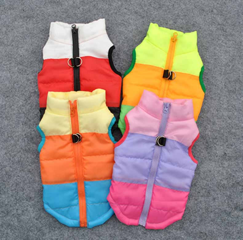 Popular Color Blocking Pet Apparel Dog Clothes Winter Puppy Dogs Vest Cotton-padded Jacket Coat for Chihuahua Teddy Poodle10