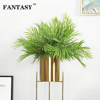 50 sztuk 45cm tropikalny dłoń gałąź drzewa zielony sztuczna roślina fałszywe z liśćmi bambusa z tworzywa sztucznego Bambus trawy na przyjęcie hawajskie karnawał