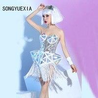 2017 sexy woman silver Bar Nightclub dress Woman Singer tassel Mirror dress Dance Modern Dance Concerts Show Twinset costumes