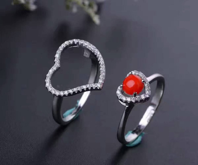 Natural red coral gem Ring Natural gemstone Ring 925 sterling silver Stylish elegant heart peach Three wears women gift Jewelry