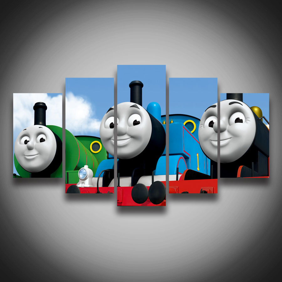 popular thomas train picture buy cheap thomas train picture lots 2017 unframed 5 pieces set hd thomas friends movie posters wall painting canvas cartoon train picture