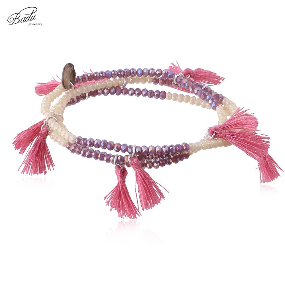 Badu Ethnic Fringe Bracelet Multi Layer Crystal Beads Elastic Geles Boho Fashion Jewellery Γυναικείο Δώρο