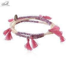 Badu Crystal Beads Bracelet Multi Strand Red Fringe Women Elastic Bracelets Ethnic Style Fashion Jewelry Boho Handmade