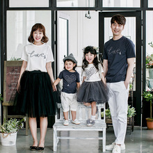Childrens wear parent-child summer new style A family of three casual cute tassel T-shirt comfort
