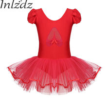 c539b42142 Inlzdz 2019 New Kids Ballet Dress Red Half Sleeves Cotton Gymnastics  Leotard Ballerina Costume for Girl Ballet Dance Tutu Dress