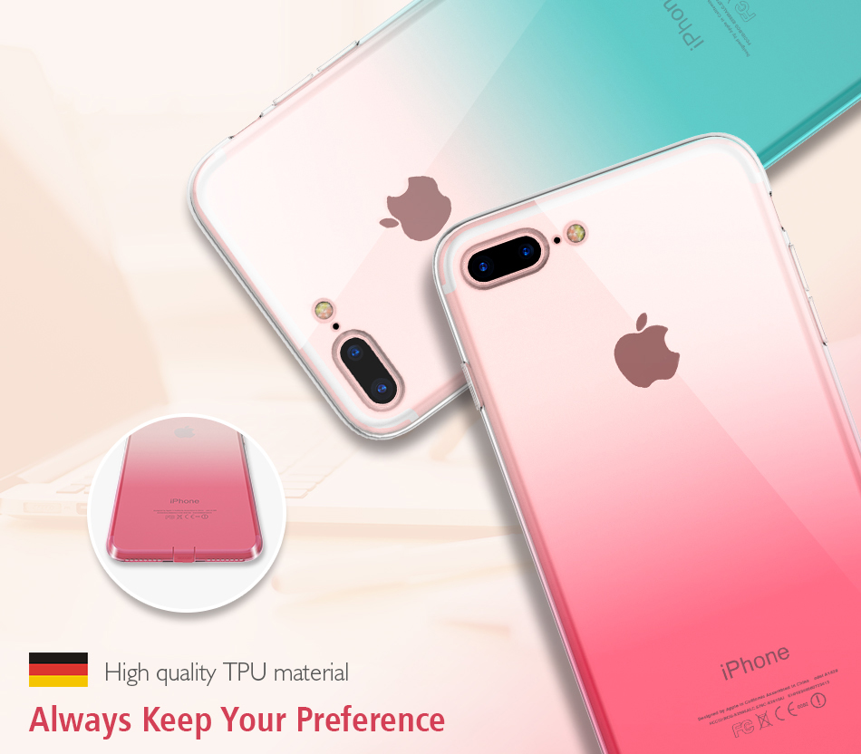FLOVEME Gradient Phone Case For iPhone 7 6 6S Plus 5 5S SE Luxury Silicon Soft TPU Thin Back Cover For iPhone 5 6S 7 Plus Cases (1)