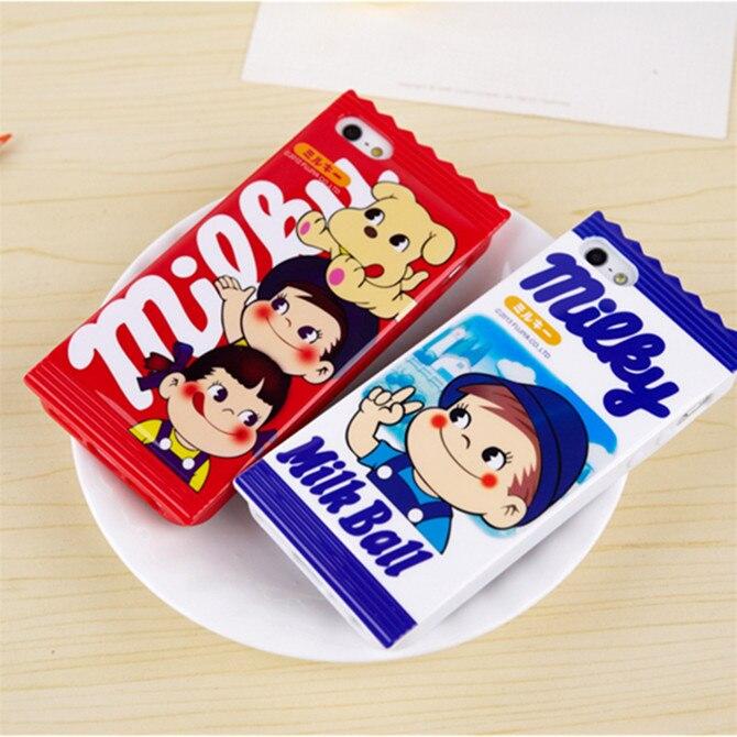 New Style Fashion Milky Milk Boy Girl 3D Cute Cartoon Sugar Candy Soft TPU Case For Apple iPhone 4 4S Back Skin Case