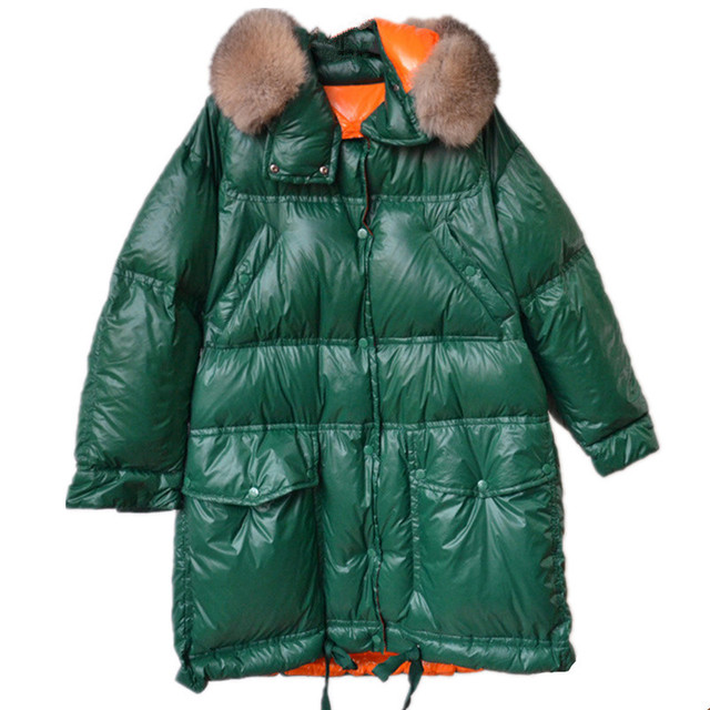High quality down jacket womens parkas winter Real fox fur collar Hooded coat Thicken super warm jackets Loose female green 2211
