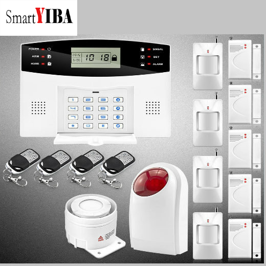 SmartYIBA Wireless Home House Security Intruder Alarm System Metal Remote Strobe Siren Alarmes GSM Alarm Kits daytech gsm sms alarm kits home security system professional siren wireless gsm remote control intelligent two way intercom