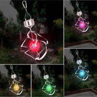 1pc Solar Power light Wind Spinner LED Light Garden Courtyard Hanging Lamp Light Bedroom Door Hanging Ornament #A