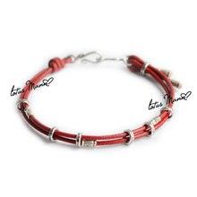 Лотос Манн 925 стерлингового серебра круг красный мужской женский браслет Красная Нить Браслет