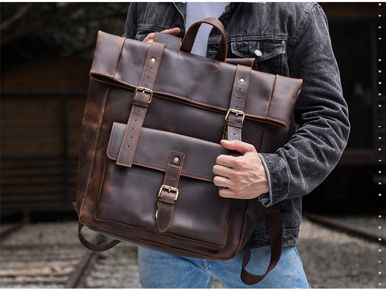 New men retro Genuine leather backpack men's shoulder bag man large capacity 17 inch computer laptop bags male travel backpacks 2017 new fashion men s backpacks bag male nylon business backpacks backpack large capacity backpack laptop bag computer bags men