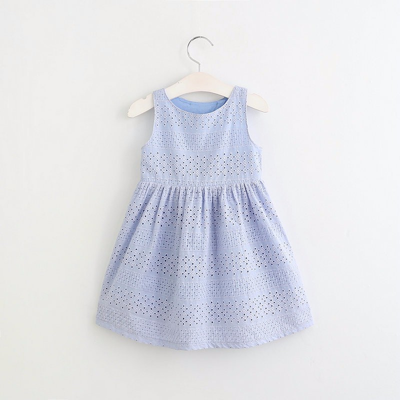 Summer Girls Dress for Girls Kids Casual Baby Party Hollow Cute Sleeveless Backless Princess Dresses Children Clothes White/Blue