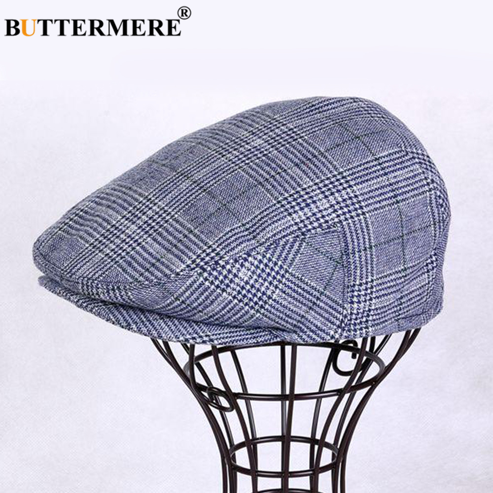 BUTTERMERE Flat Caps for Men Khaki Wool Beret Hat Male Herringbone Casual Duckbill Cap Plaid Winter British Gatsby Driving Hats in Men 39 s Fedoras from Apparel Accessories
