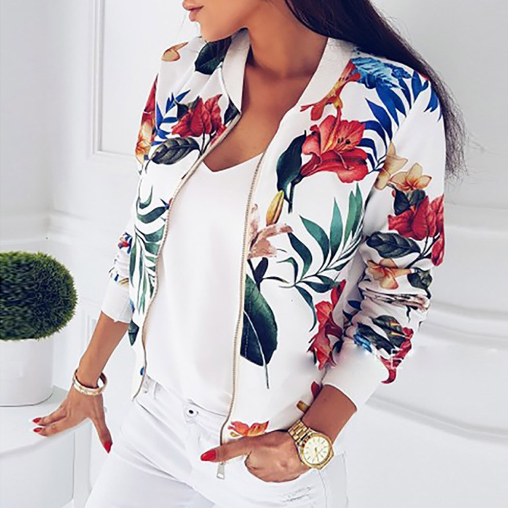 Zipper Plus Size Women's Jacket Floral Printed Long Sleeve V Neck Tops Print Blosue Spring Slim Womens Coats And Jackets Outwear