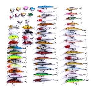 Image 1 - 56pcs/set Fishing Lures Mixed Color Size Hard Bass Baits Artificial Crankbait Treble Hook Trout Tackle Lure Fish Artificial Bait