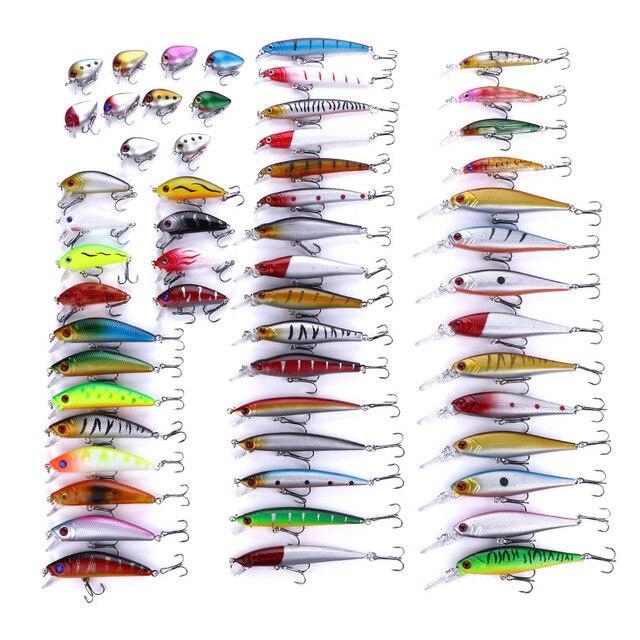 56pcs/set Fishing Lures Mixed Color Size Hard Bass Baits Artificial Crankbait Treble Hook Trout Tackle Lure Fish Artificial Bait