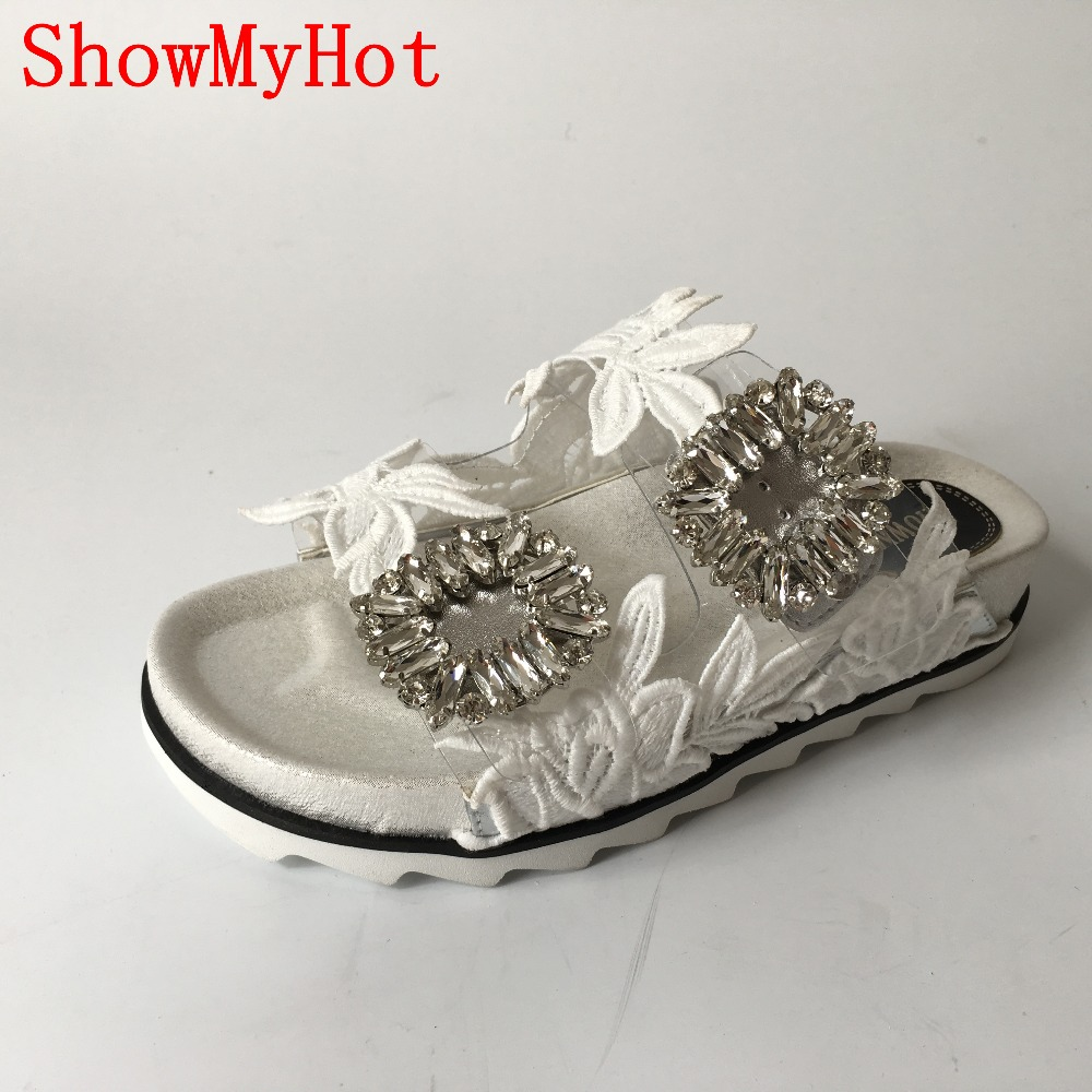 ShowMyHot designer Brand Shoes Pearl Beading Flats Large Size Women Sandals Sexy Spring Summer Slippers Shoes