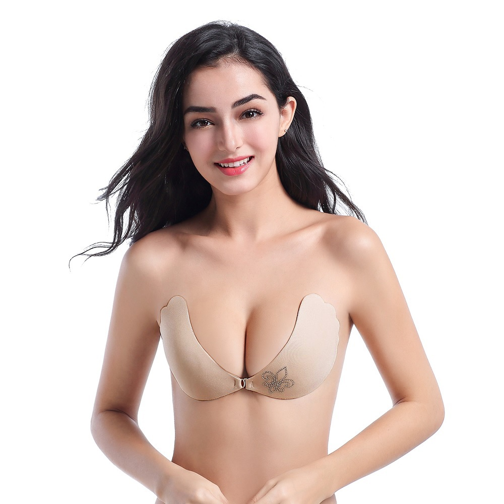 54b5dfc200d Dropwow Deep U Gather Self Adhesive Women Bra Plus Size Super Push ...