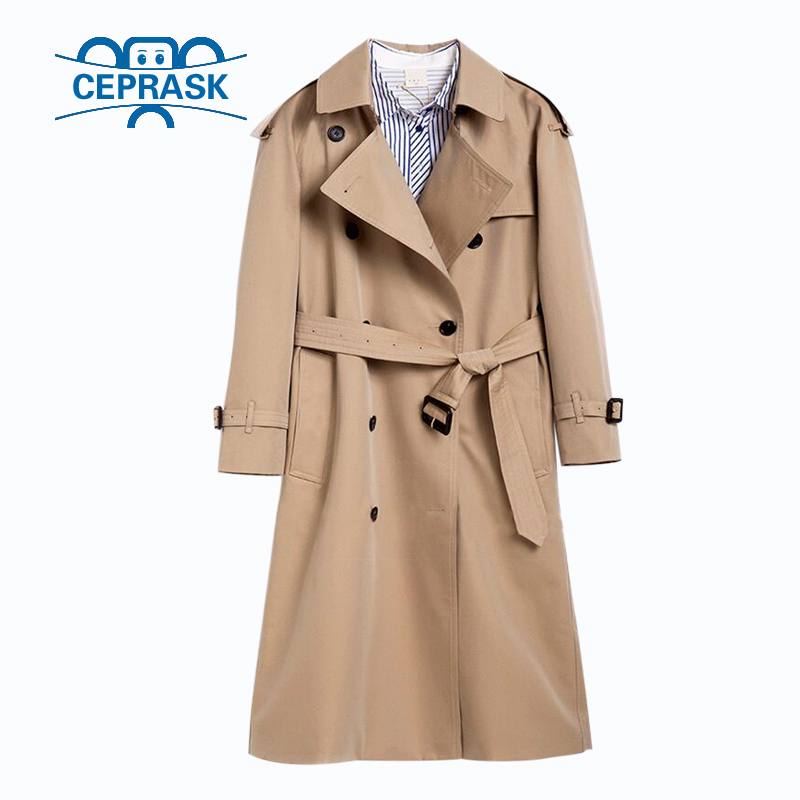 2018 Spring Autumn Casual Trench coat for women Brand Plus Size Breasted Europe Long Double Windbreaker Outerwear Coats Hot sale