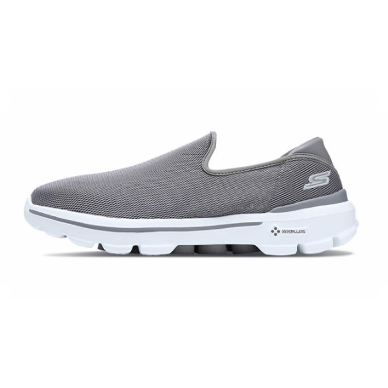 Skechers/Мужская обувь; Лоферы для прогулок; повседневная обувь черного цвета без застежки; Мужская Удобная дышащая обувь на плоской подошве; Мужская брендовая Роскошная обувь; 54062 BKW - 2