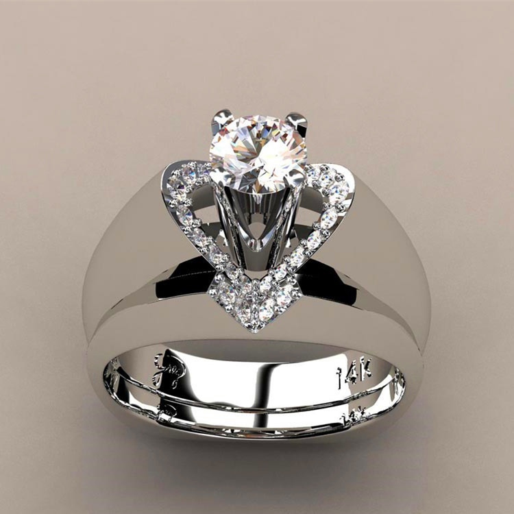 Ring-Set Engagement-Ring Crystal Wedding Bridal Heart 925-Silver Female Vintage Women