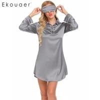 Ekouaer Women Sleepwear Peter Pan Collar Long Sleeve Satin Boyfriend Style Sleepshirt Nightgown FemaleSpring Autumn Home Clothes