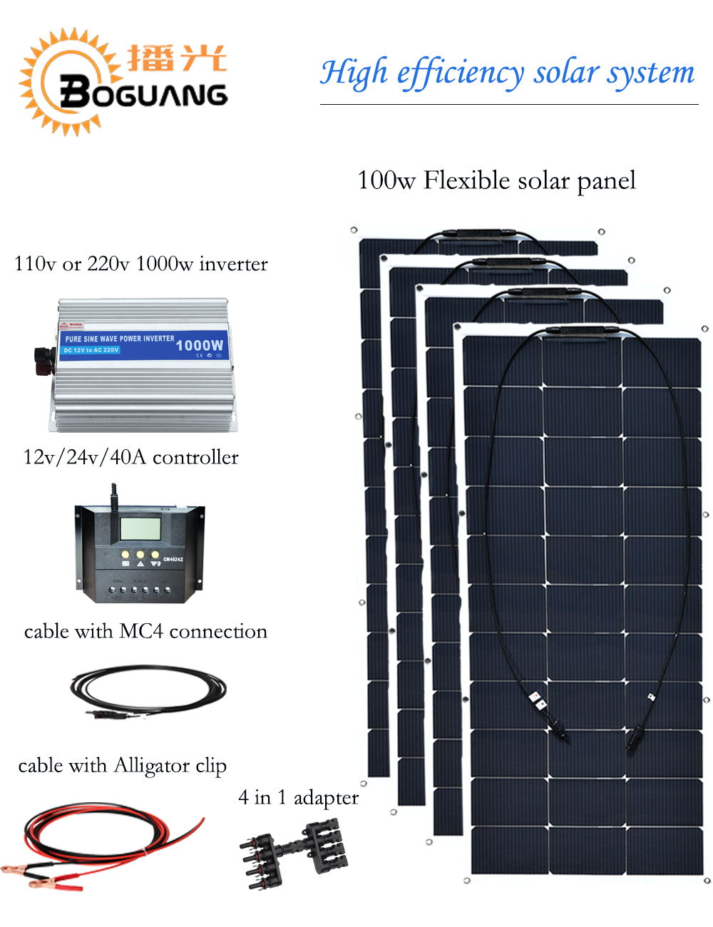 Boguang 400w solar system 100w semi flexible solar panel High efficiency monocrystalline silicon cell 12v battery  powred charge