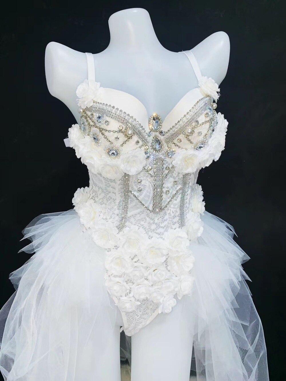 2019 Sexy White Lace Rhinestone Bodysuit female singer DJ DS dance Wear stage costume Leotard nightclub