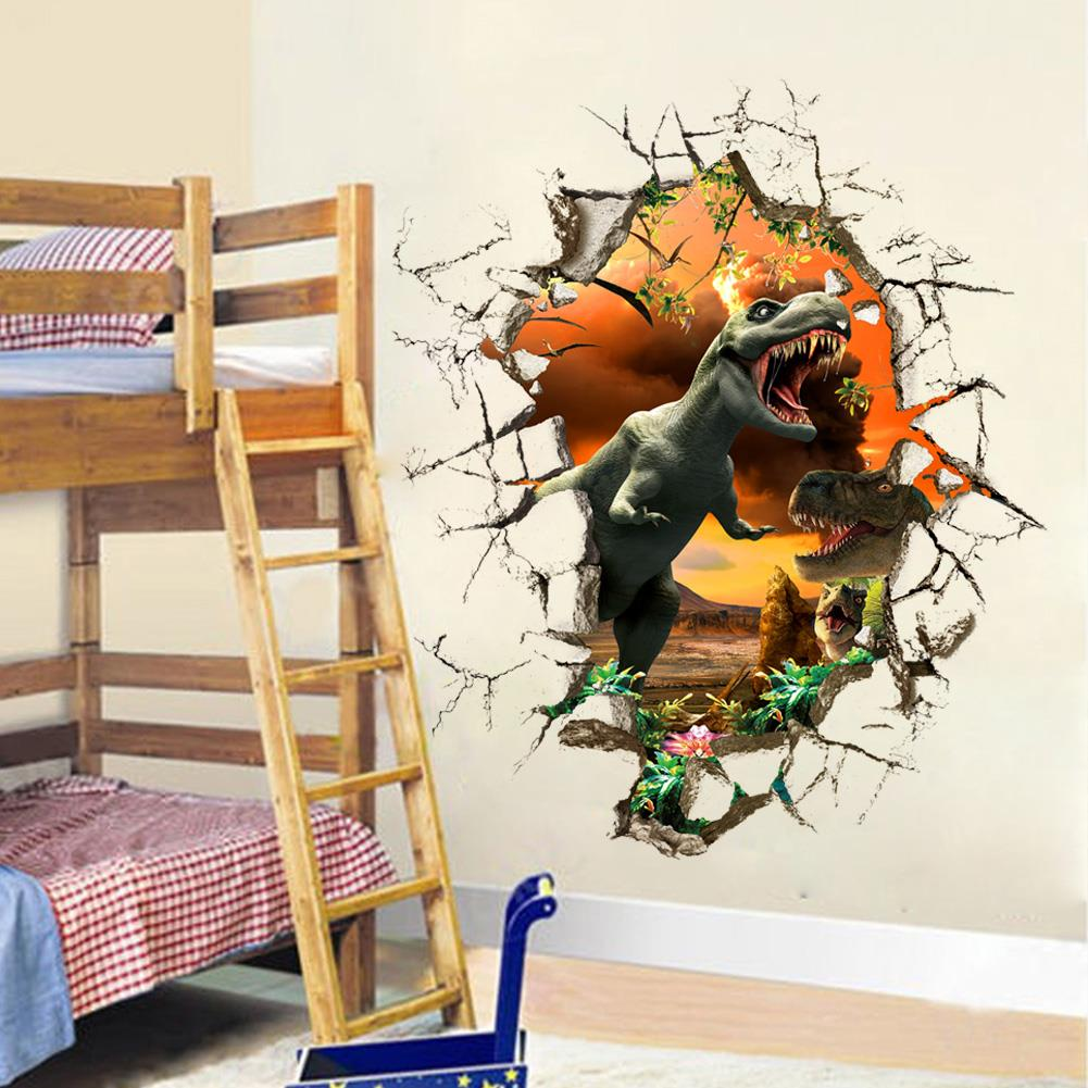 D Dinosaur Wall Stickers Break The Wall Decals For Kids Rooms - 3d dinosaur wall decalsd dinosaurs wall stickers decals boys room animals wall decals